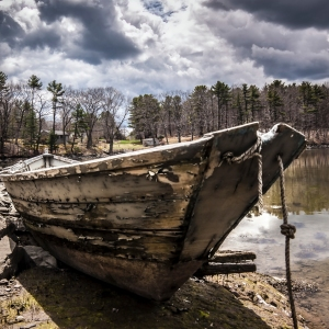 Beatutiful shot of an old weathered dinghy